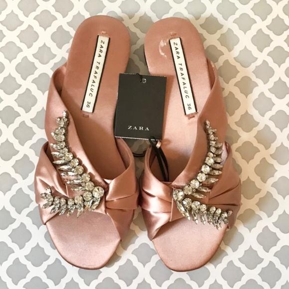 Zara Jeweled Satin Slide Sandal